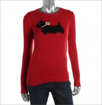 Red Metallic Graphic Pullover